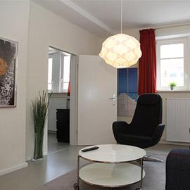 Das Wohnzimmer der Gästewohnung